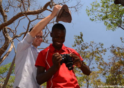 Nick Horrocks and Collins Moya photographing a fiery-necked nightjar's clutch
