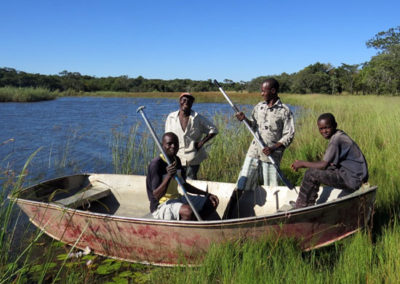Searching for nests along the Semahwa Farm dam